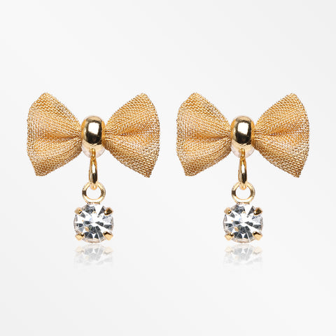 Golden Dainty Mesh Bow-Tie Sparkle Dangle Ear Stud Earrings-Clear
