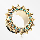 A Pair of Golden Bali Turquoise Nior Casted Double Flared Eyelet Plug-Turquoise