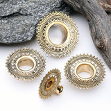 Golden Brass Bali Falix Filigree Double Flared Tunnel Plug