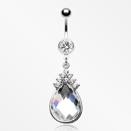Princess Teardrop Sparkle Belly Button Ring-Clear