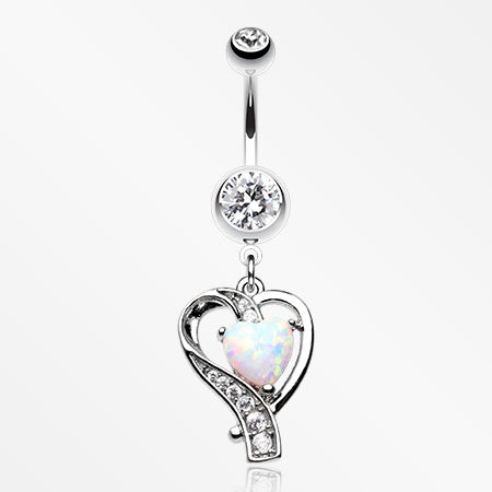 Heart Journey Opal Sparkle Belly Button Ring-Clear/White
