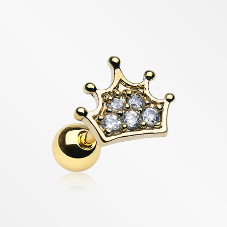 Golden Princess Sparkle Crown Cartilage Tragus Barbell-Clear