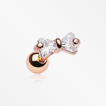 Rose Gold Sparkle Bow-Tie Gem Cartilage Tragus Barbell-Clear