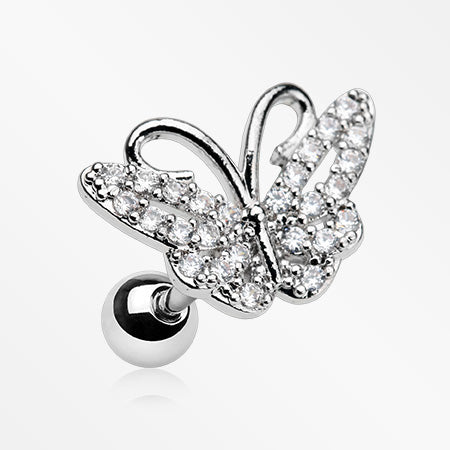 Glam Butterfly Sparkle Cartilage Tragus Barbell-Clear