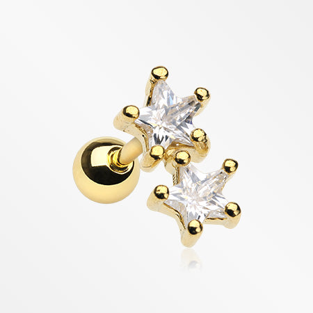 Golden Star Sparkle Duo Cartilage Tragus Barbell-Clear