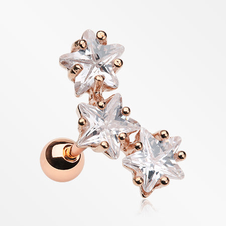 Rose Gold Triple Star Gem Sparkle Cartilage Tragus Barbell-Clear