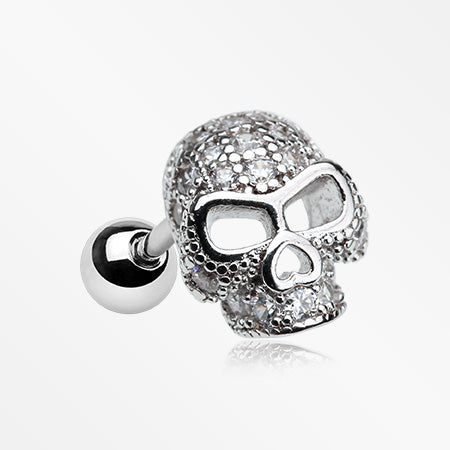 Death Skull Sparkle Cartilage Tragus Barbell-Clear