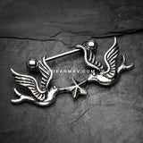 Freedom Doves Nautical Star Nipple Barbell Ring-Steel