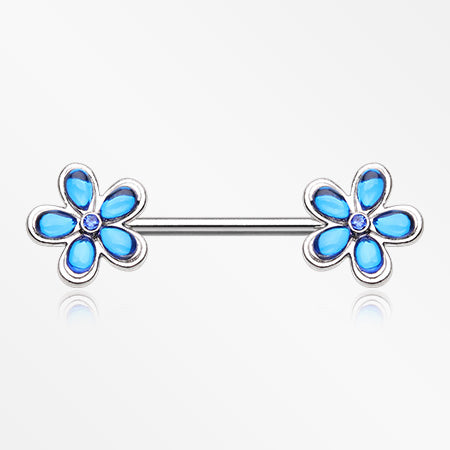 Ocean Blue Crystal Flower Nipple Barbell Ring-Blue