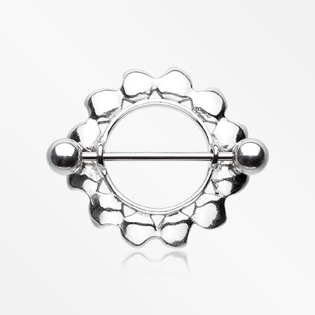 Floral Sunburst Steel Nipple Shield Ring-Steel