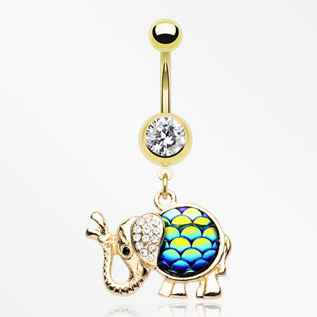 Golden Irisdescent Elephant Sparkle Belly Button Ring-Clear