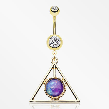 Golden Galaxy Triangle Belly Button Ring-Clear