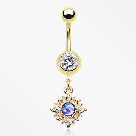 Golden Dainty Galaxy Sun Belly Button Ring-Clear