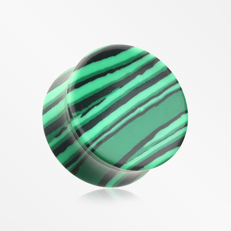 A Pair of Concave Synthetic Malachite Stone Double Flared Plug