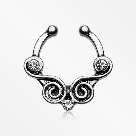 Tribal Kron Sparkle Fake Septum Clip-On Ring-Clear