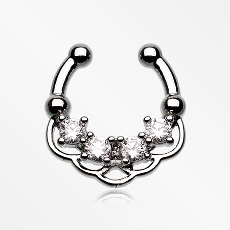 Lua Sparkle Fake Septum Clip-On Ring-Clear