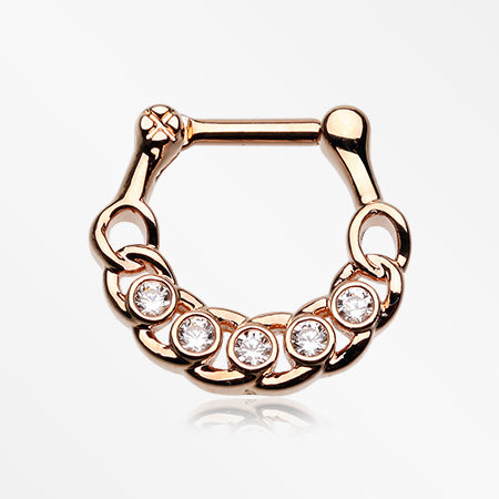 Rose Gold Divinity Link Sparkle Septum Clicker-Clear