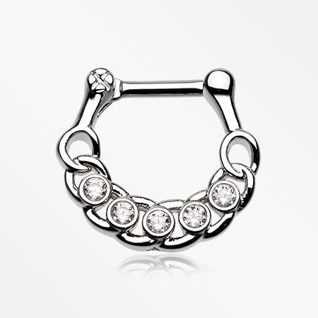 Divinity Link Sparkle Septum Clicker-Clear
