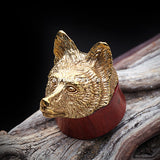 A Pair of Brass Fox Organic Sabo Wood Ear Gauge Plug-Gold