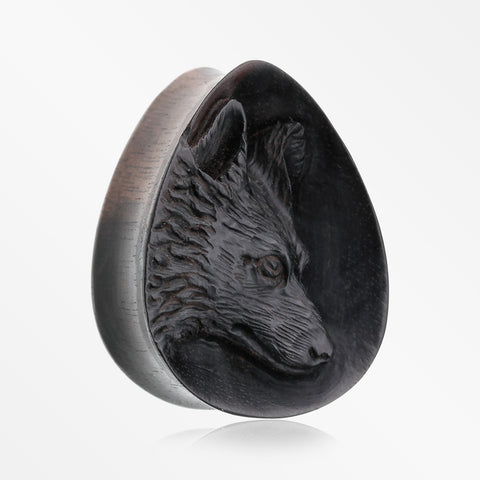 A Pair of Dire Wolf Arang Wood Double Flared Teardrop Plug