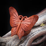 A Pair of Autumn Butterfly Organic Sabo Wood Ear Gauge Plug-Orange/Brown