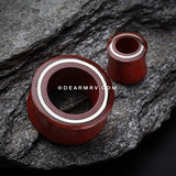 A Pair of The Chrome Disc Blood Wood Organic Ear Gauge Tunnel Plug-Orange/Brown