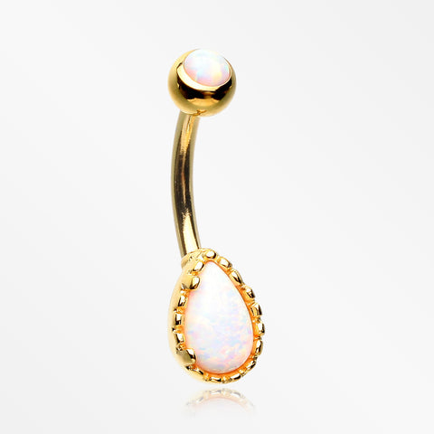 Golden Fire Opal Elegance Teardrop Belly Button Ring-White