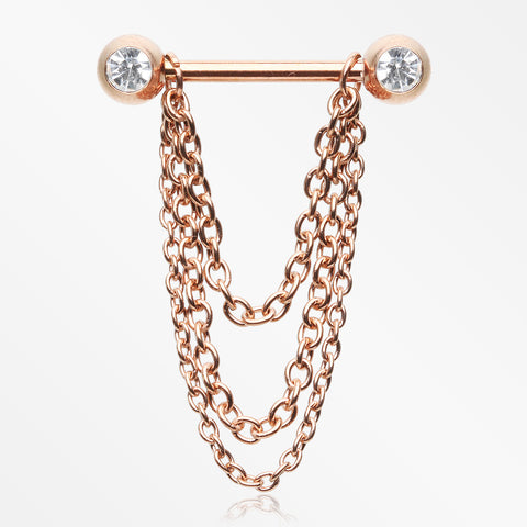 A Pair of Rose Gold Chained Sparkle Nipple Barbell-Clear