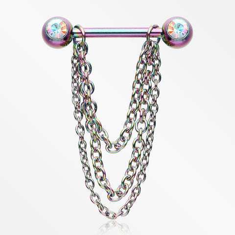 A Pair of Rainbow PVD Chained Sparkle Nipple Barbell-Aurora Borealis