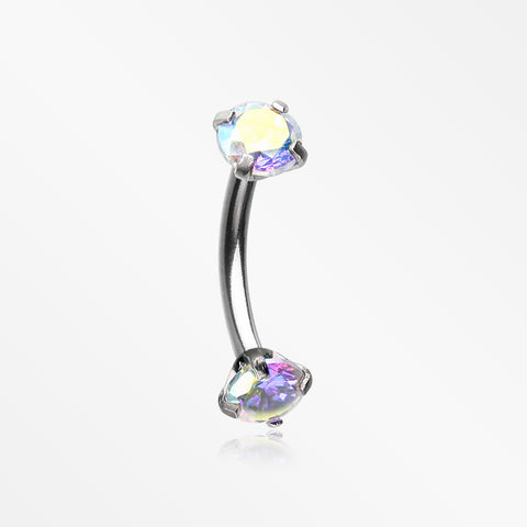 Prong Set Gem Sparkles Internally Threaded Curved Barbell-Aurora Borealis