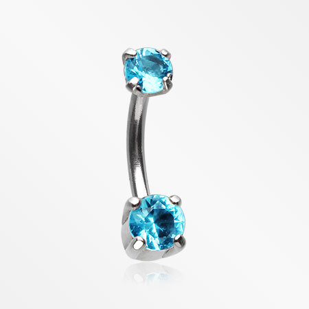Pristine Gem Sparkles Internally Threaded Curved Barbell-Aqua