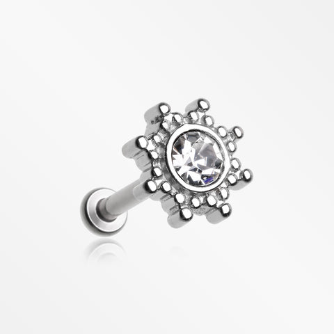 Bali Mandala Sun Sparkle Internally Threaded Steel Micro Labret-Clear