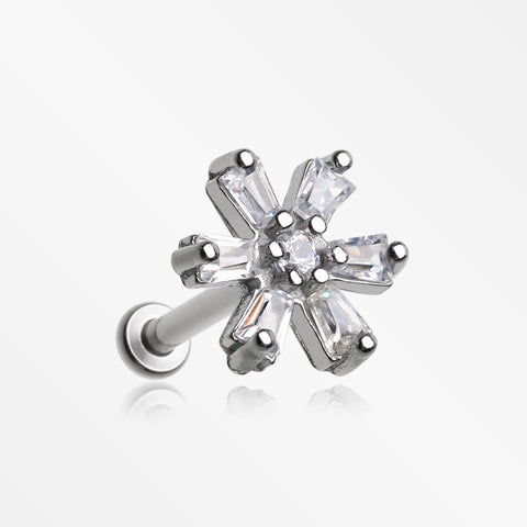 Starburst Flower Sparkle Internally Threaded Steel Micro Labret-Clear