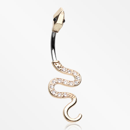 Golden Snake Sparkle Belly Button Ring-Clear