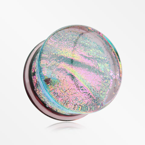 A Pair of Dichroic Glass Iridescent Double Flared Plug-Rainbow