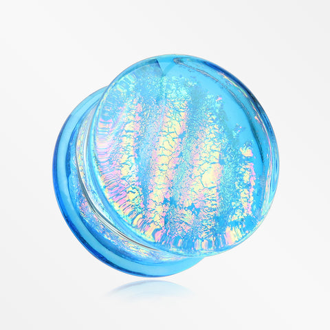 A Pair of Dichroic Glass Iridescent Double Flared Plug-Aqua