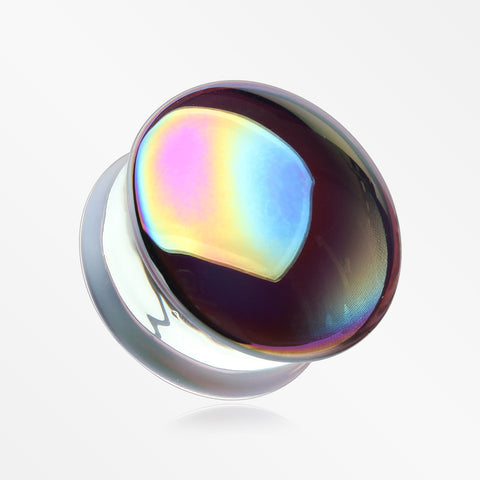 A Pair of Rainbow Slick Iridescent Convex Glass Double Flared Plug