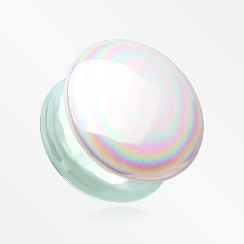 A Pair of Milky Aurora Iridescent Convex Glass Double Flared Plug