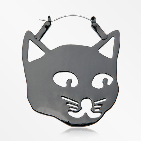 A Pair of Nero the Black Cat Plug Hoop Earring-Black