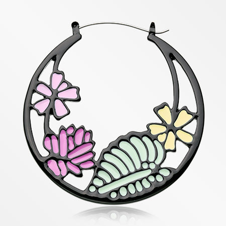 A Pair of Flower Garden Plug Hoop Earring-Black