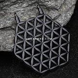 A Pair of Black Flower of Life Plug Hoop Earring-Black