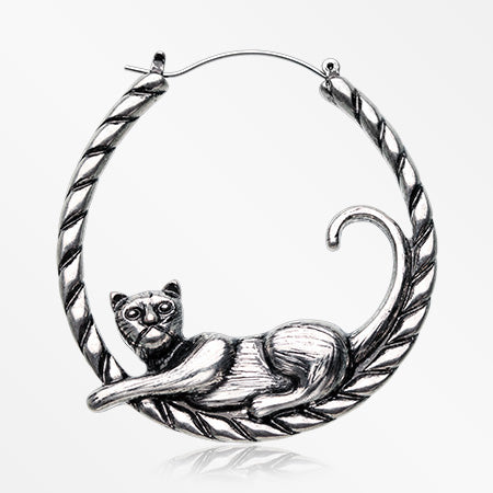 A Pair of Antique Lazy Cat on the Rope Plug Hoop-Steel