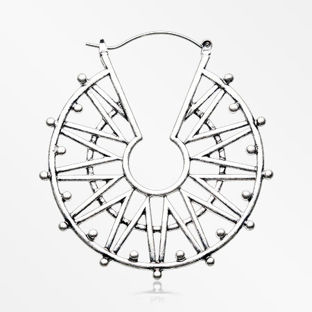 A Pair of Geometric Sol Plug Hoop Earring-Steel