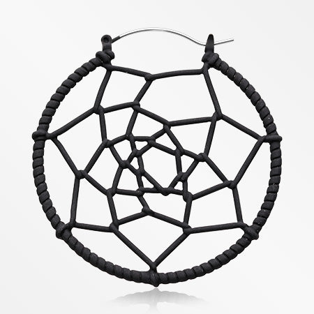 A Pair of Dreamcatcher Woven Web Plug Hoop Earring-Black