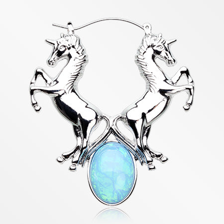A Pair of Iridescent Blue Sparkle Unicorns Plug Hoop Earring