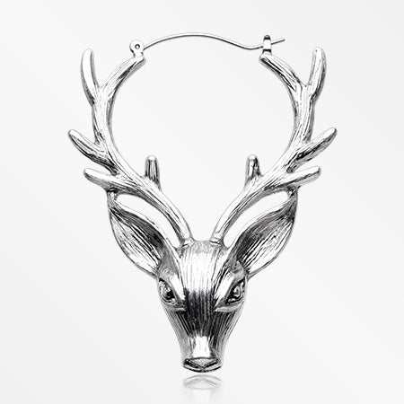 A Pair of Wild Deerhead Alloy Plug Hoop Earring