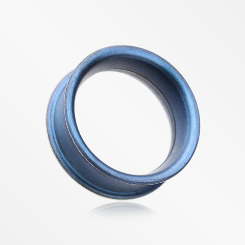 A Pair of Metallic Blue Flexible Silicone Double Flared Tunnel Plug