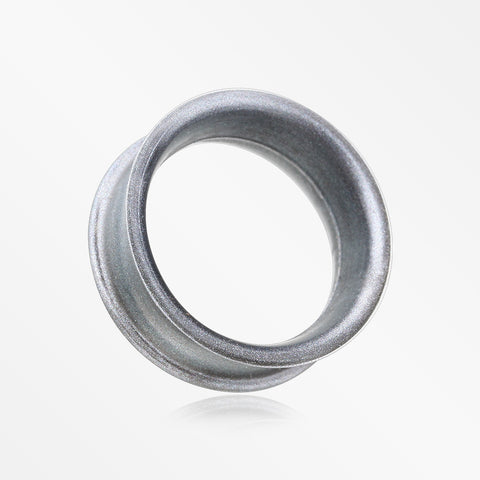 A Pair of Metallic Gunmetal Flexible Silicone Double Flared Tunnel Plug