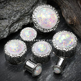 A Pair of Opalescent Adia Filigree Ear Gauge Plug-White