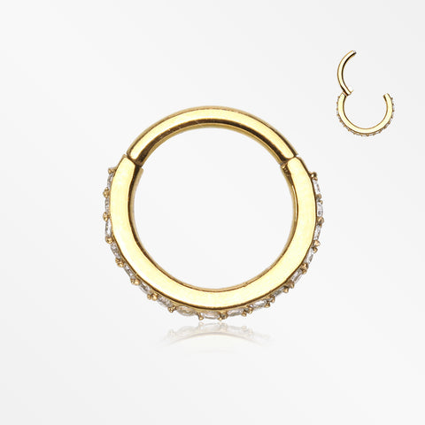 Golden Brilliant Sparkle Gems Lined Clicker Hoop Ring-Clear